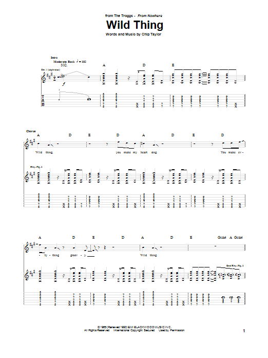 The Troggs Wild Thing sheet music notes printable PDF score