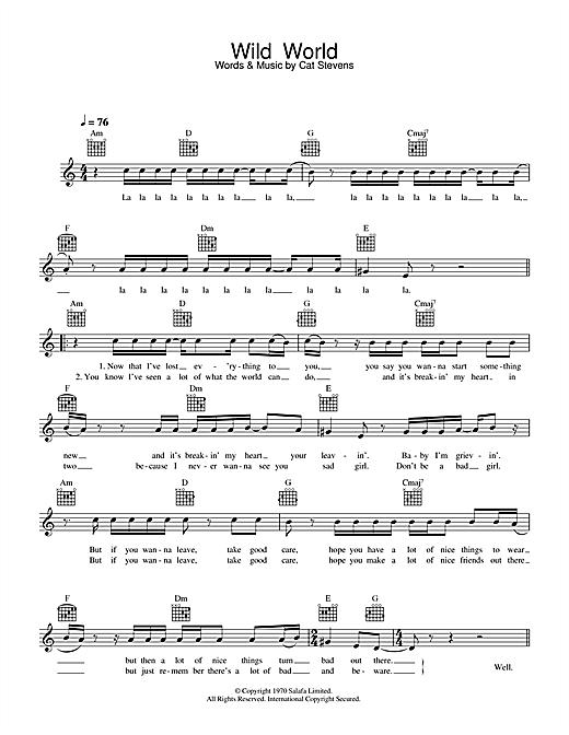 Cat Stevens Wild World sheet music notes printable PDF score