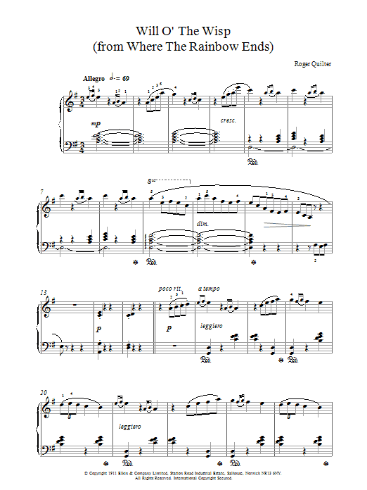 Roger Quilter Will O The Wisp sheet music notes printable PDF score