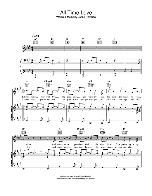 Will Young All Time Love sheet music notes printable PDF score