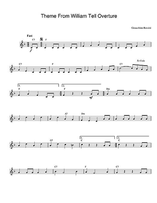 Gioachino Rossini William Tell Overture sheet music notes printable PDF score