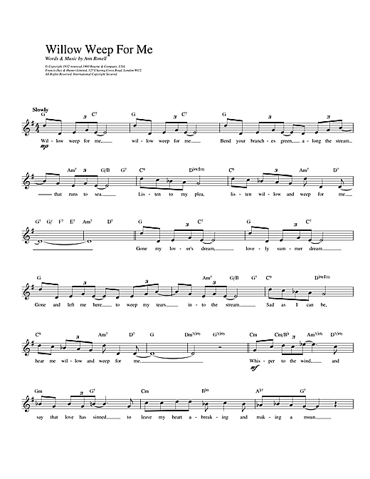 Ann Ronell Willow Weep For Me sheet music notes printable PDF score