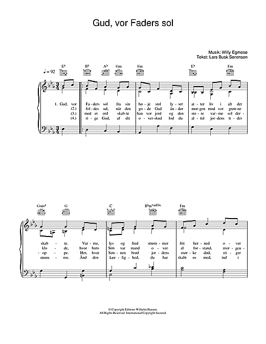 Willy Egmose Gud, Vor Faders Sol sheet music notes printable PDF score