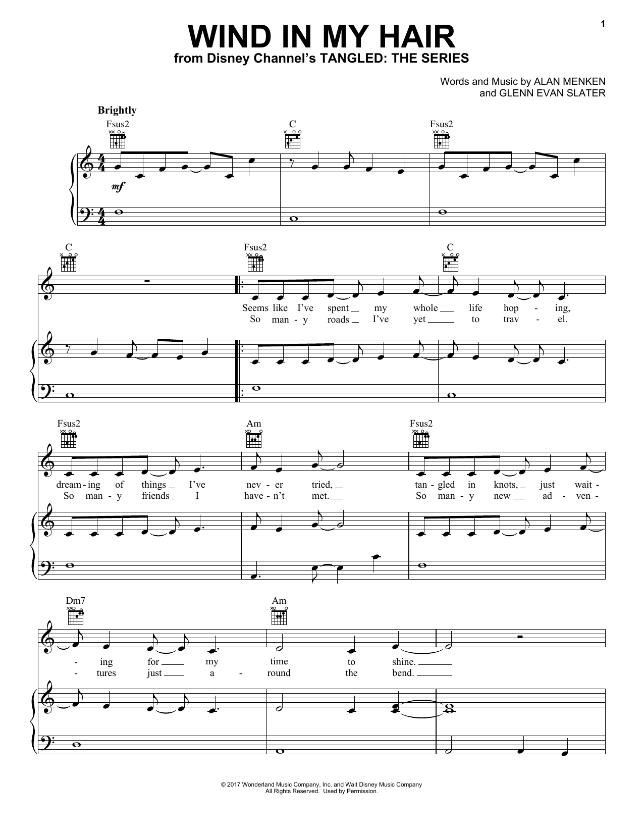 Alan Menken Wind In My Hair (from Tangled: The Series) sheet music notes printable PDF score