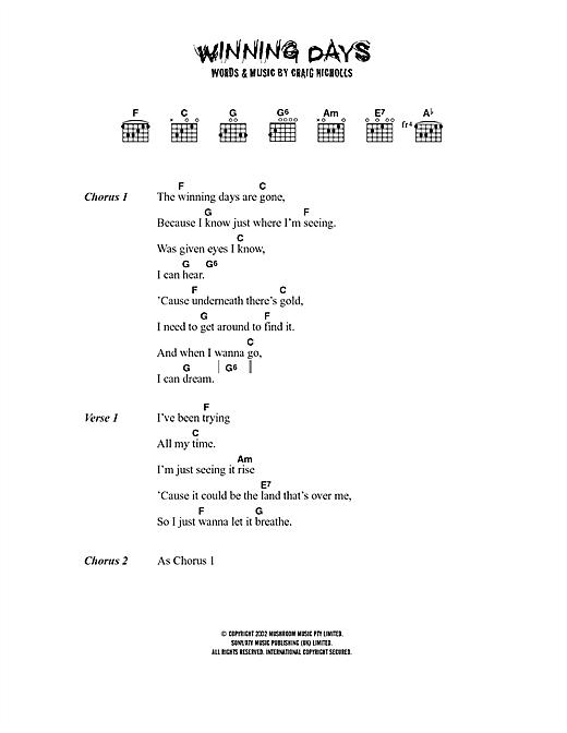 The Vines Winning Days sheet music notes printable PDF score
