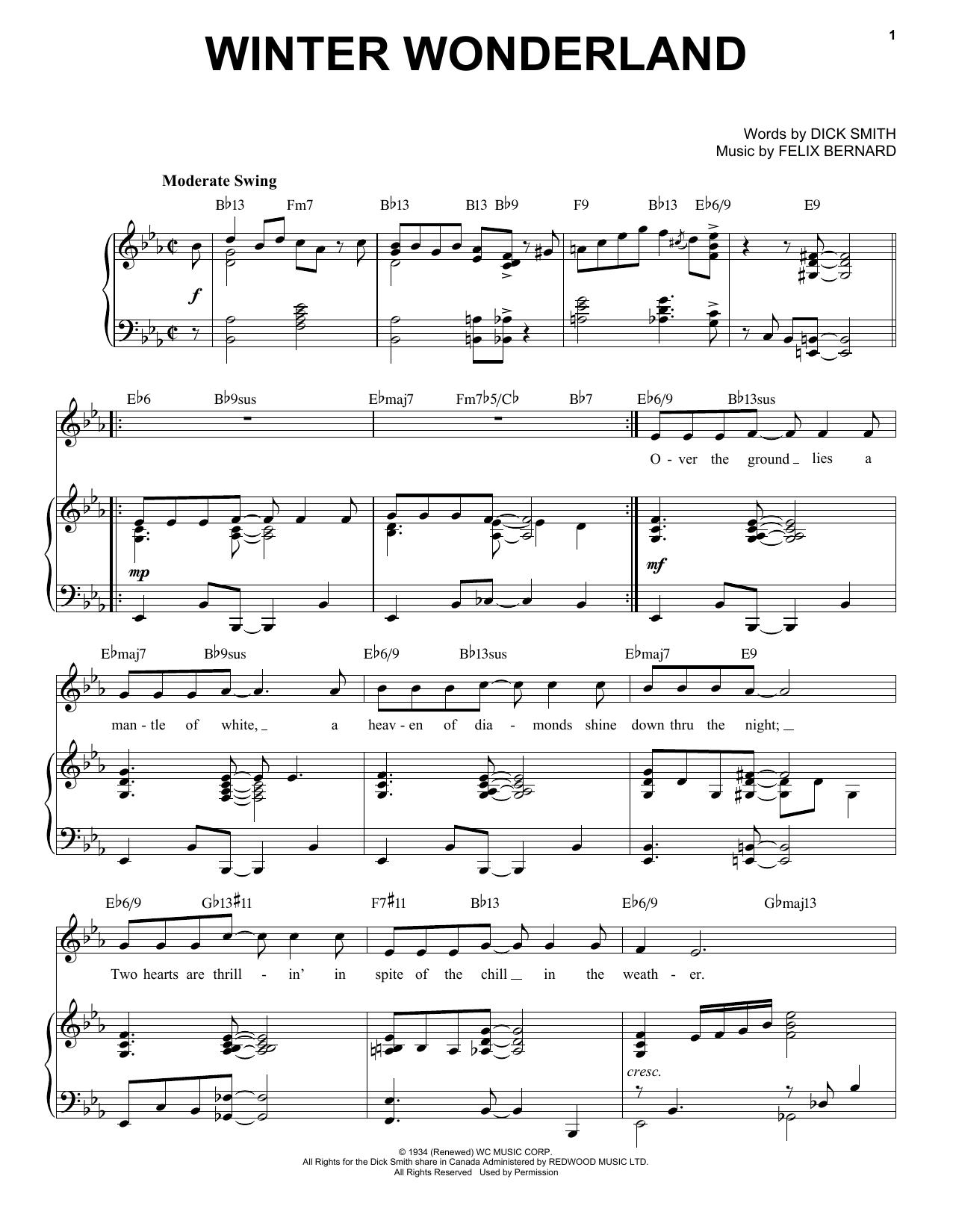 Felix Bernard Winter Wonderland [Jazz Version] (arr. Brent Edstrom) sheet music notes printable PDF score