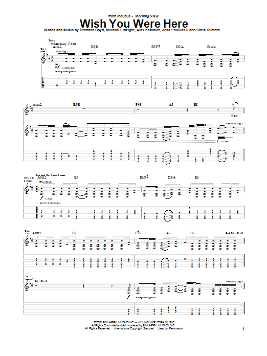 Incubus Wish You Were Here sheet music notes printable PDF score