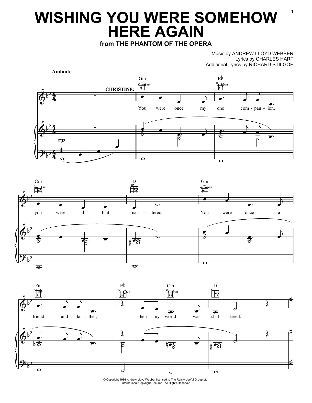 Andrew Lloyd Webber Wishing You Were Somehow Here Again (from The Phantom Of The Opera) sheet music notes printable PDF score