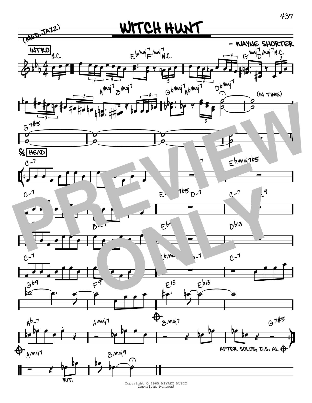 Wayne Shorter Witch Hunt [Reharmonized version] (arr. Jack Grassel) sheet music notes printable PDF score