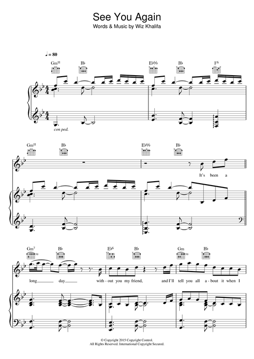 Wiz Khalifa See You Again (feat. Charlie Puth) sheet music notes and chords. Download Printable PDF.