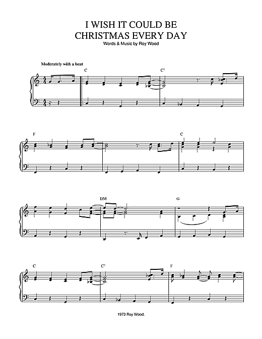 Wizzard I Wish It Could Be Christmas Every Day sheet music notes and chords - download printable PDF.