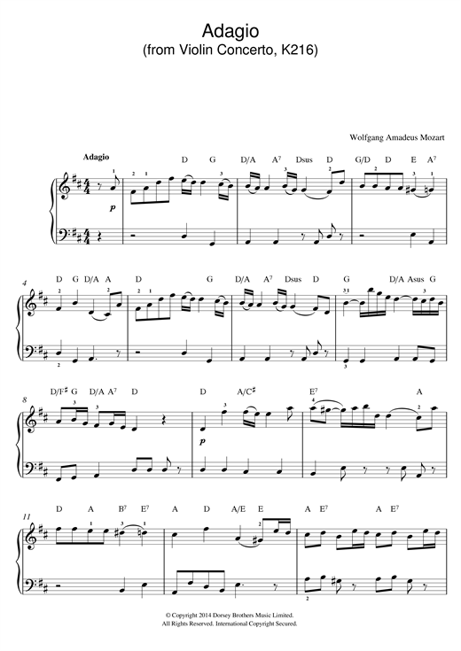 Wolfgang Amadeus Mozart Adagio from Violin Concerto In G, K216 sheet music notes and chords. Download Printable PDF.