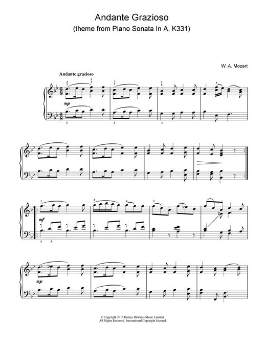 Wolfgang Amadeus Mozart Andante Grazioso (theme from Piano Sonata In A, K331) sheet music notes printable PDF score