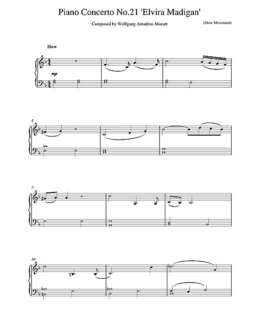 Wolfgang Amadeus Mozart Piano Concerto No.21 in C Major (Elvira Madigan), 2nd Movement Excerpt sheet music notes printable PDF score