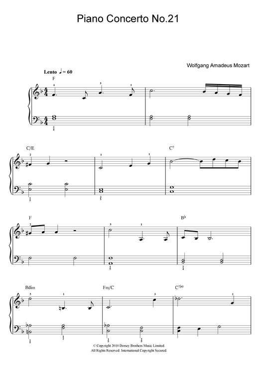 Wolfgang Amadeus Mozart Piano Concerto No. 21 In C Major (Second Movement) sheet music notes and chords. Download Printable PDF.