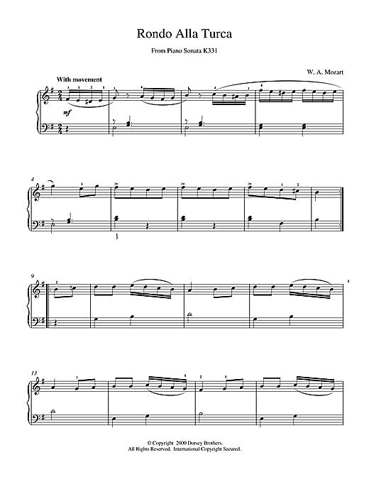 Wolfgang Amadeus Mozart Rondo Alla Turca, from the Piano Sonata A Major, K331 sheet music notes printable PDF score