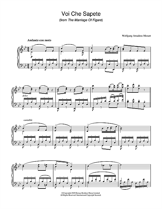 Wolfgang Amadeus Mozart Voi Che Sapete (from The Marriage Of Figaro) sheet music notes printable PDF score
