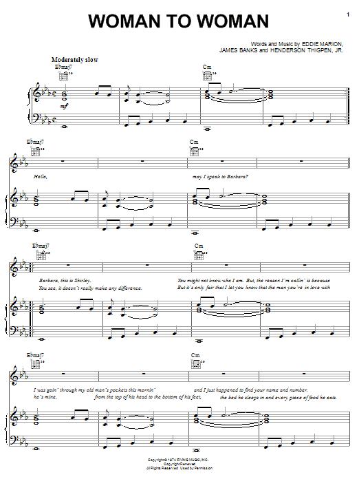 Shirley Brown Woman To Woman sheet music notes printable PDF score