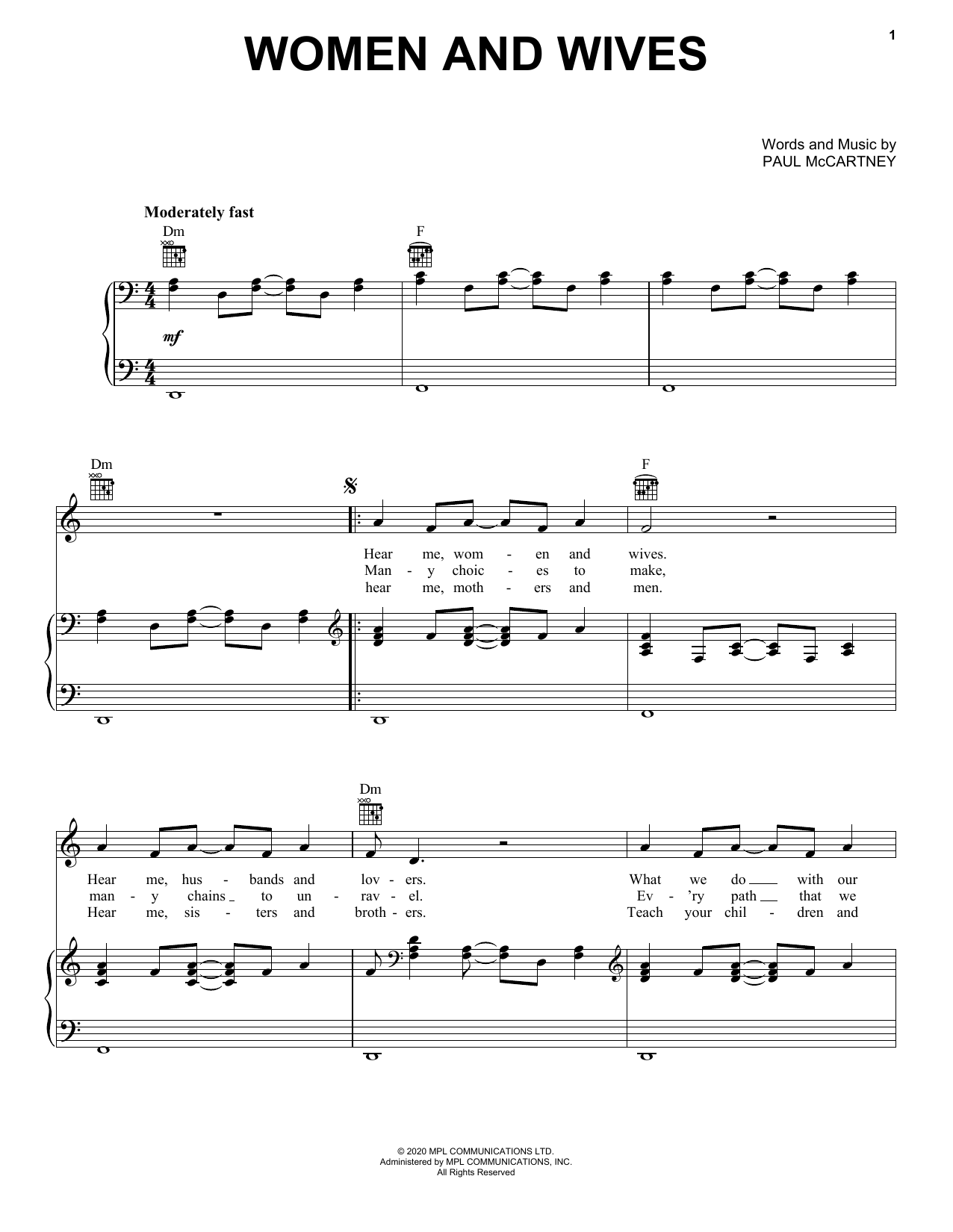 Paul McCartney Women And Wives sheet music notes printable PDF score