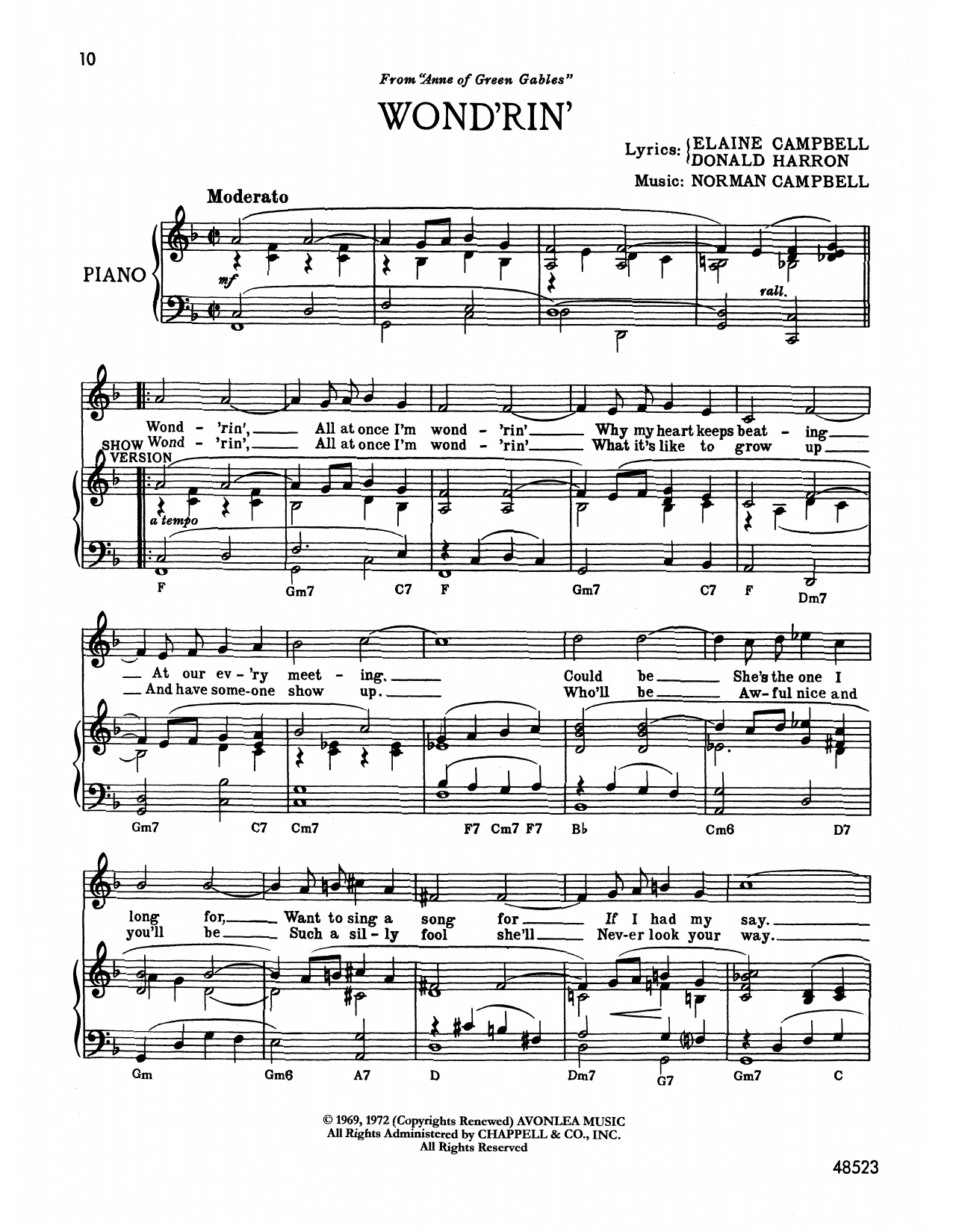 Norman Campbell Wond'rin' (from Anne Of Green Gables) sheet music notes printable PDF score