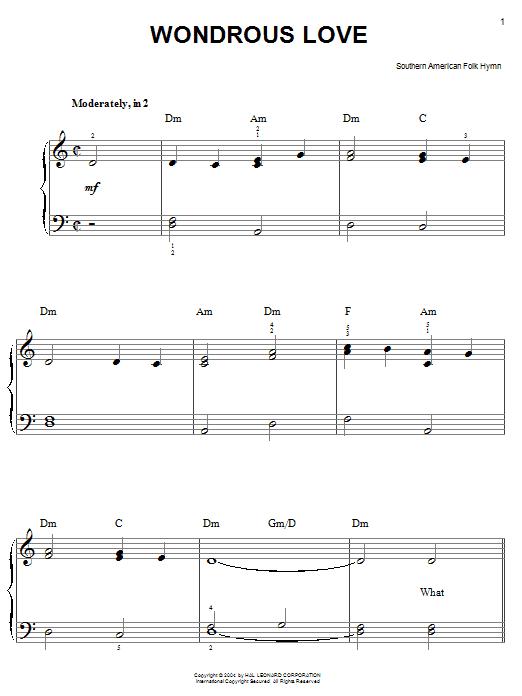 Southern American Folksong Wondrous Love sheet music notes printable PDF score