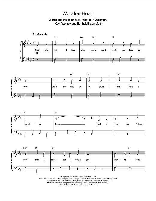 Elvis Presley Wooden Heart sheet music notes printable PDF score
