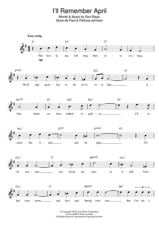 Woody Herman I'll Remember April sheet music notes printable PDF score