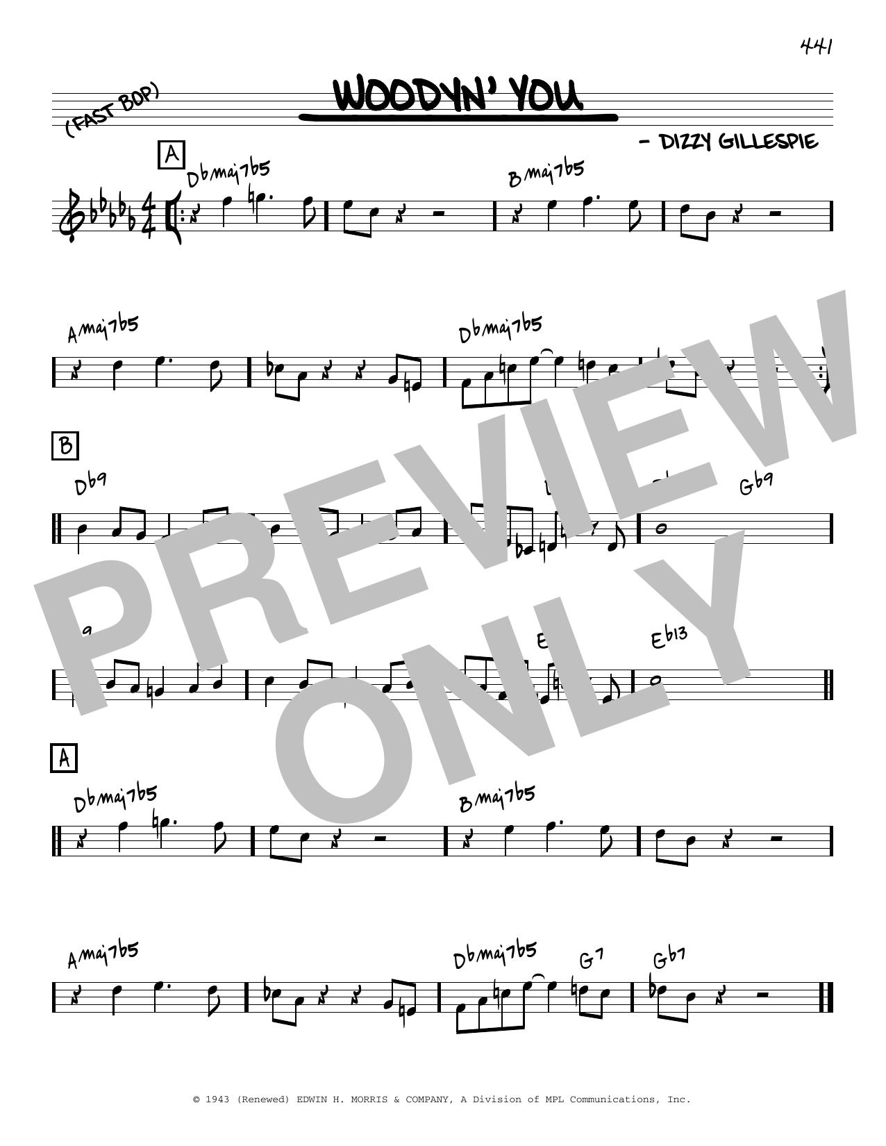 Dizzy Gillespie Woodyn' You [Reharmonized version] (arr. Jack Grassel) sheet music notes printable PDF score