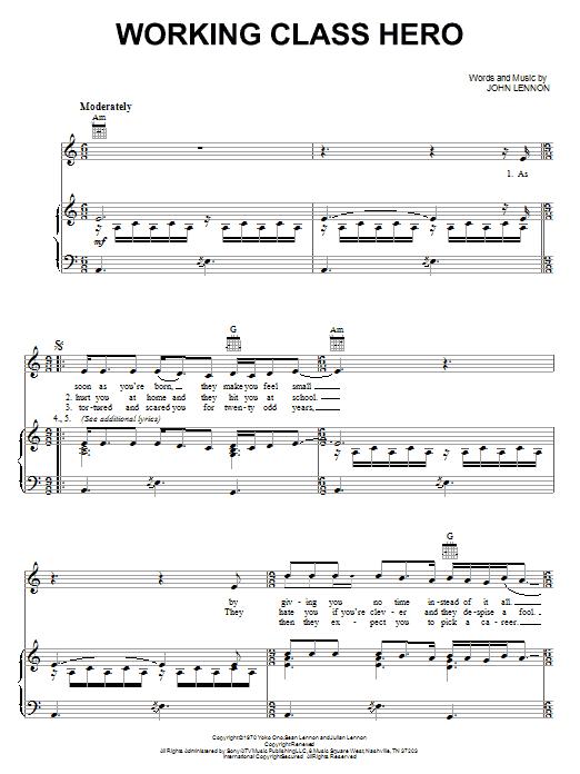 John Lennon Working Class Hero sheet music notes printable PDF score