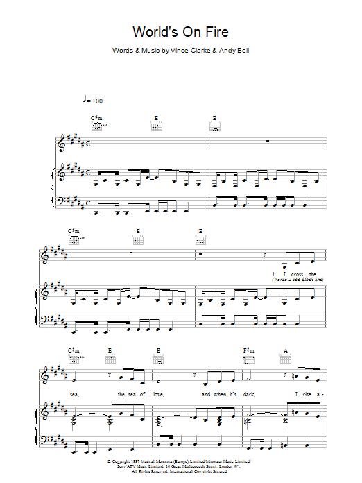 Erasure World's On Fire sheet music notes printable PDF score