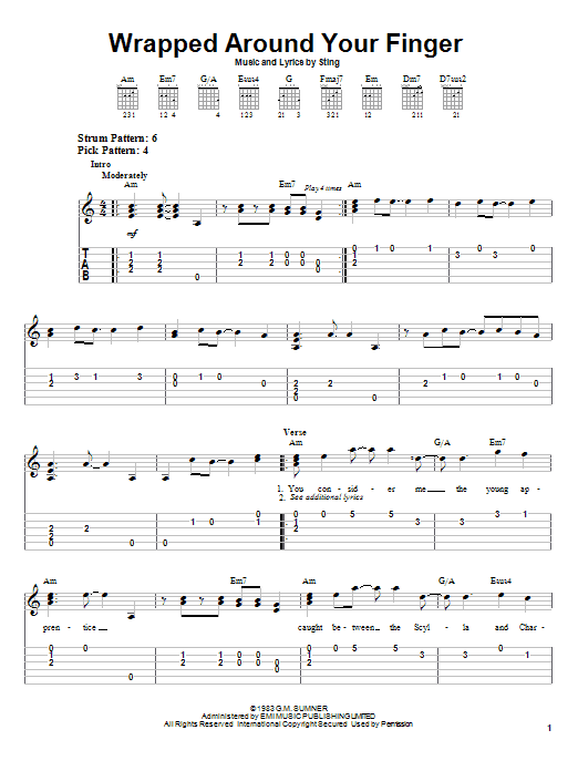 The Police Wrapped Around Your Finger sheet music notes printable PDF score