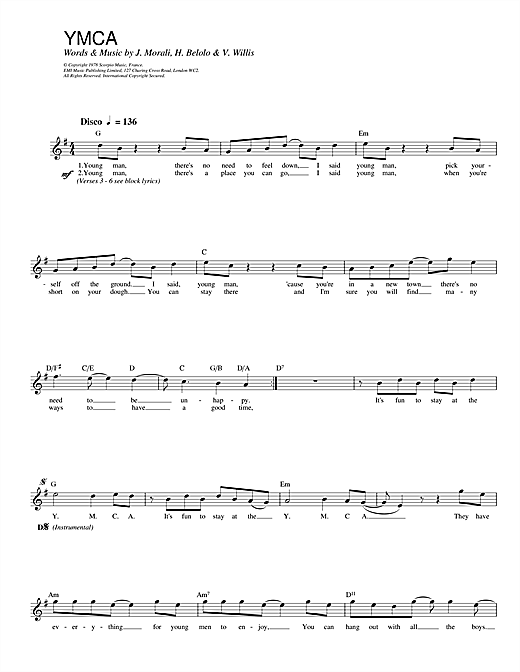 Village People Y.M.C.A. sheet music notes printable PDF score