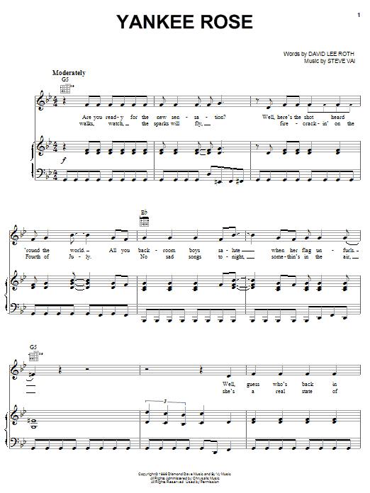 David Lee Roth Yankee Rose sheet music notes printable PDF score
