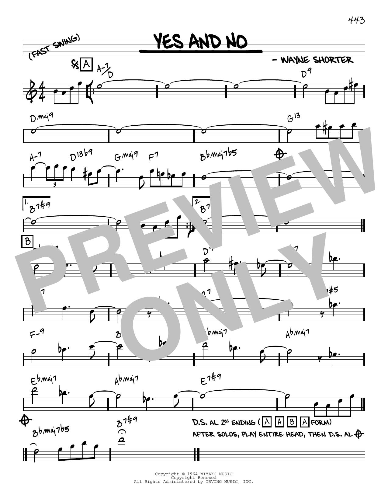 Wayne Shorter Yes And No [Reharmonized version] (arr. Jack Grassel) sheet music notes printable PDF score
