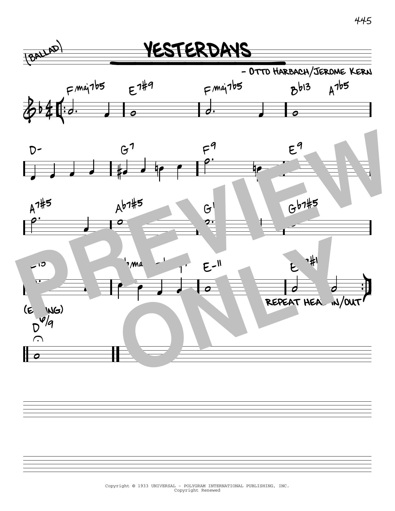 Otto Harbach Yesterdays [Reharmonized version] (arr. Jack Grassel) sheet music notes printable PDF score