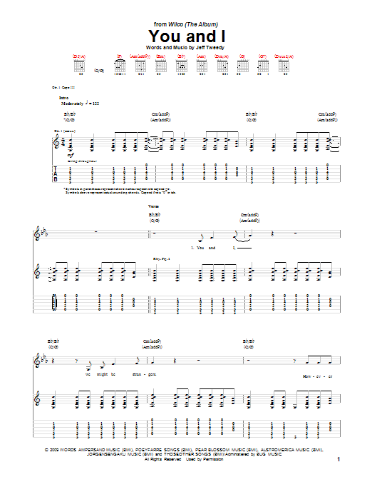 Wilco You And I sheet music notes printable PDF score