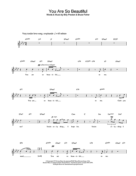 Russell Watson You Are So Beautiful sheet music notes printable PDF score