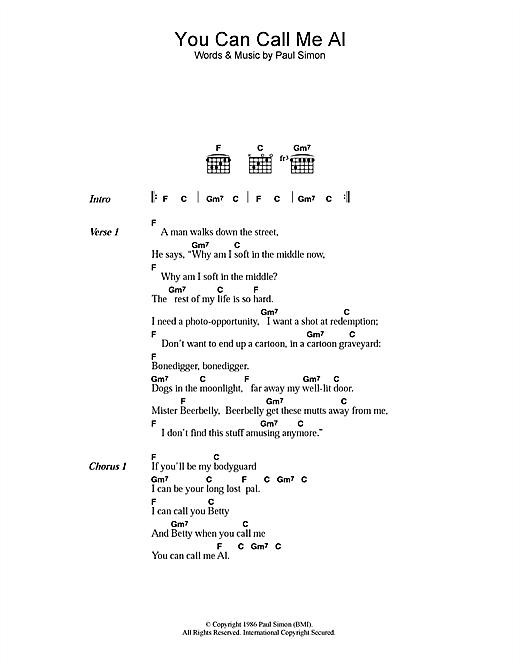 Paul Simon You Can Call Me Al sheet music notes printable PDF score