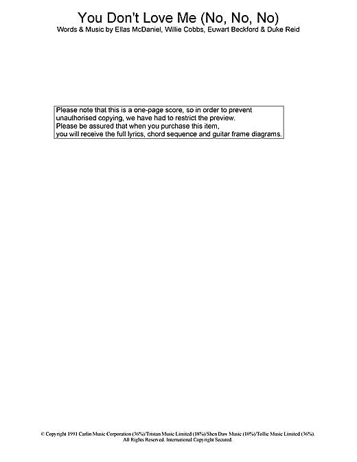 Dawn Penn You Don't Love Me (No, No, No) sheet music notes printable PDF score