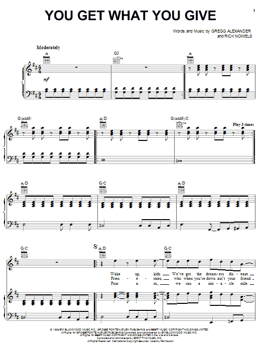 New Radicals You Get What You Give sheet music notes printable PDF score
