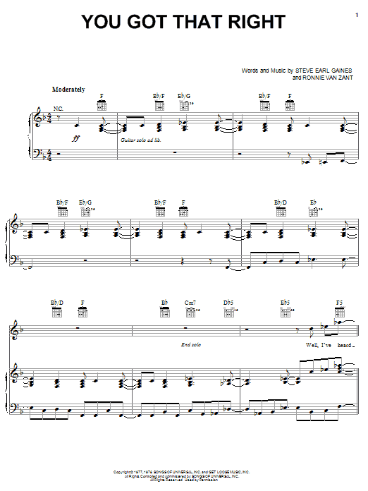 Lynyrd Skynyrd You Got That Right sheet music notes printable PDF score