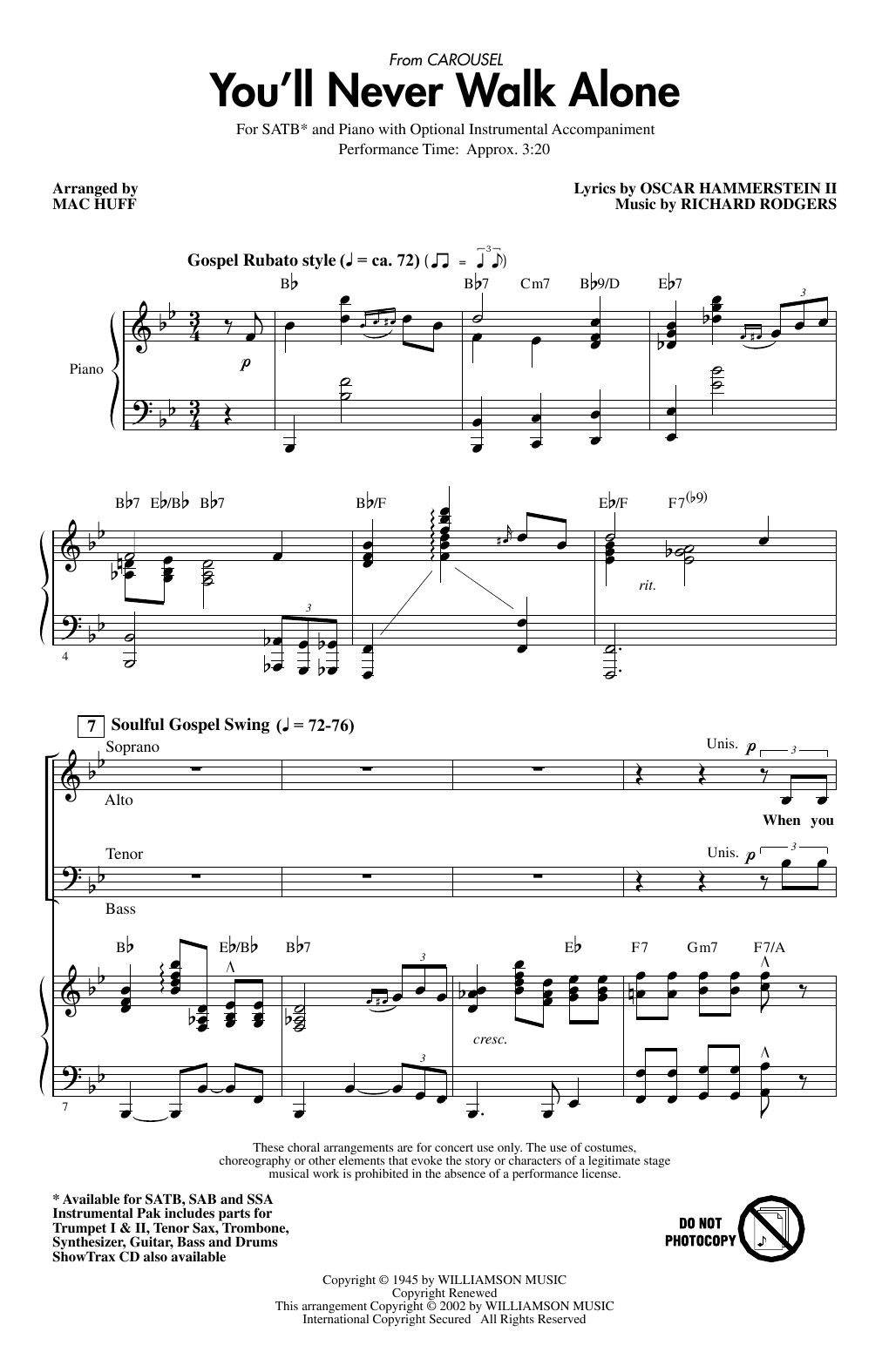 Rodgers & Hammerstein You'll Never Walk Alone (from Carousel) (arr. Mac Huff) sheet music notes printable PDF score