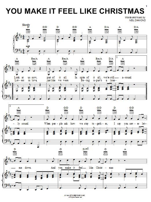 Neil Diamond You Make It Feel Like Christmas sheet music notes printable PDF score