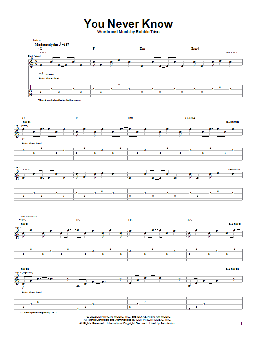 Goo Goo Dolls You Never Know sheet music notes printable PDF score