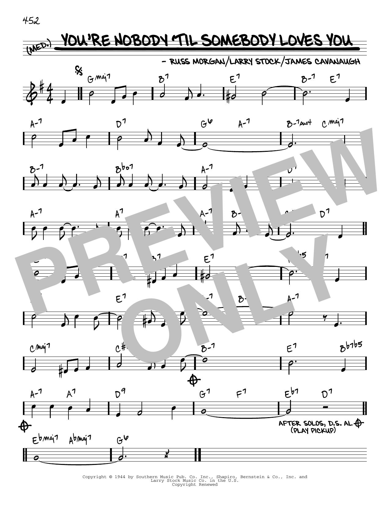 Dean Martin You're Nobody 'til Somebody Loves You [Reharmonized version] (arr. Jack Grassel) sheet music notes printable PDF score