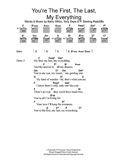 Barry White You're The First, The Last, My Everything sheet music notes printable PDF score