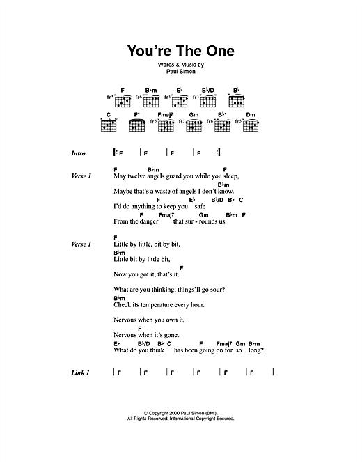 Paul Simon You're The One sheet music notes printable PDF score