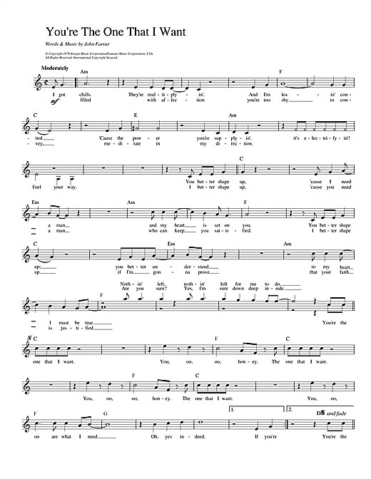 Olivia Newton-John and John Travolta You're The One That I Want (from Grease) sheet music notes printable PDF score