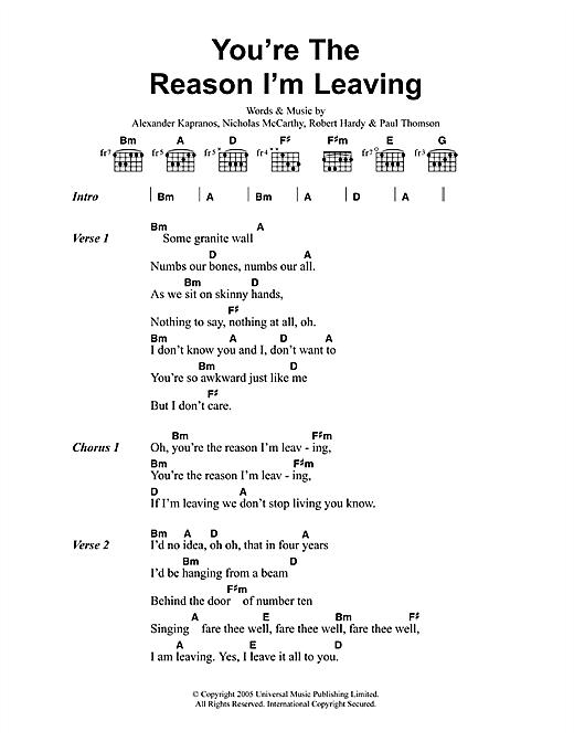 Franz Ferdinand You're The Reason I'm Leaving sheet music notes printable PDF score