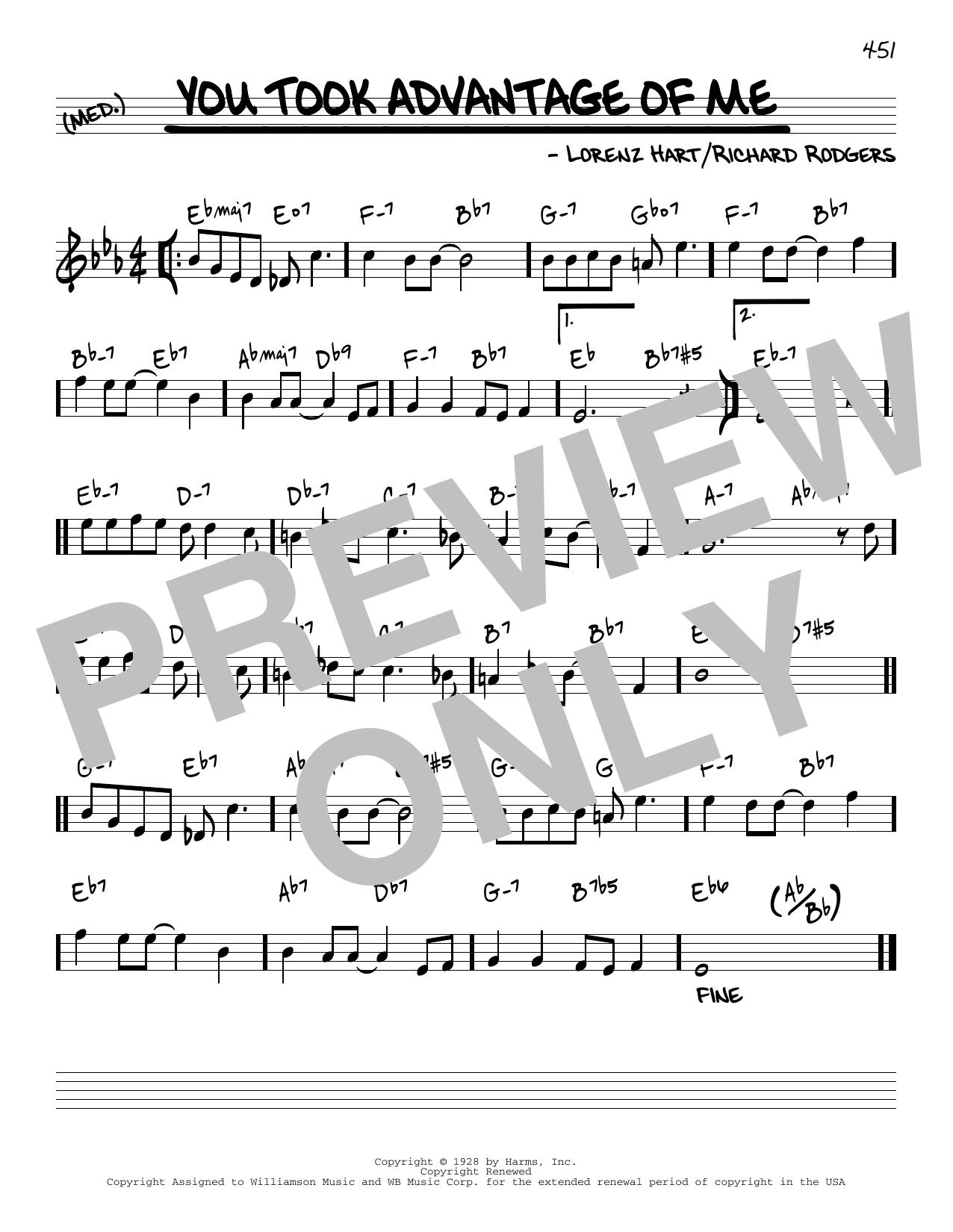 Rodgers & Hart You Took Advantage Of Me [Reharmonized version] (arr. Jack Grassel) sheet music notes printable PDF score